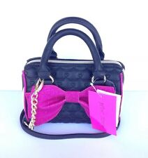 Betsey Johnson big pink glitter bow mini barrel crossbody handbag purse New!