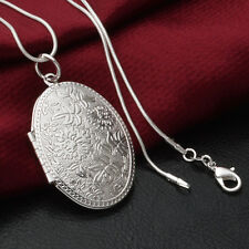 New Silver Plated Oval Flowers Locket Pendant Necklace Photo Frame Snake Chain