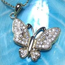 Butterfly Fire Diamond Charm Pendant Necklace 14k Yellow Gold Plated A135