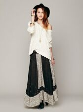 Free People Heirloom Maxi Skirt Ivory Black Embroidered Hippie Cotton Boho XS