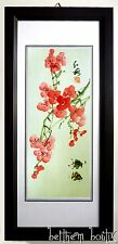 Asie : Grand TABLEAU Peinture Rectangulaire Vertical Asiatique Fleurs Cerisier 2