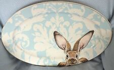 *Williams Sonoma*Bunny/Rabbit*Easter*Serving Platter/Dish/Plate*Blue Damask*New*