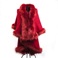 NEW WOMEN LADIES DOUBLE LAYER FAUX FUR PONCHO FLEECE COLLAR AND CUFFS CAPE WRAP