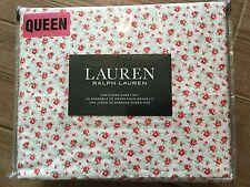 Ralph Lauren Rosebud Shabby Red Chic  Roses Queen Sheet Set