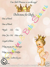 Baby Shower Game Predictions PRINCESS BABY GIRL 20 Sheets Players