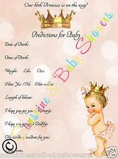 Baby Shower Juego predicciones Princesa Niña Bebé 20 Hojas Jugadores