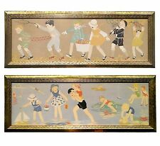Pair Large Vintage 1930s Prints Children Playing Summer Fall Midderich-Bokhorst