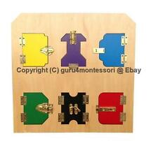 CLEARANCE Montessori Practical Life Material - Wooden Lock Board with 6 Locks