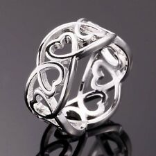 NEW Fashion 925 Sterling Silver Plated pretty Cute lady women Heart Ring L925R2