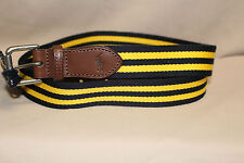 POLO MEN'S NAVY BLUE AND YELLOW STRIPED COTTON BLEND BELT SIZE 32