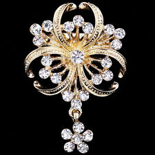Vintage Style Pearl And Crystal Gold Tone Pin Brooch Broach Wedding Party Gift