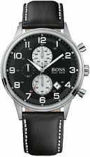 Hugo Boss Gent's Black Leather Strap 50 m Chronograph Designer Watch 1512569