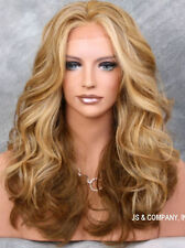 Stunning Big Open Curl Wavy layered Blonde Mix HEAT SAFE Lace Front wig NOM 2216