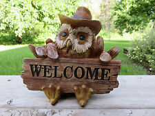OWL FIGURINE WELCOME SIGN RESIN WESTERN DECOR NEW Cowboy Hat Scarf Country New