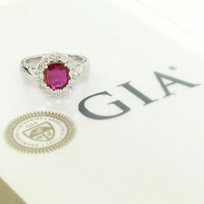 Etched 14k White Gold GIA Certified 2.19ctw Cushion Cut Ruby & Diamond Halo Ring