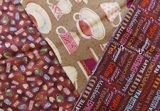 WtW Fabric Quilt Craft Stash Lot 3 Coffee Tea Cups Perk Me Up Kitchen Novelty +