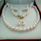 """AAA+ New 7-8MM Natural White Akoya Cultured Pearl Necklace 18"""" + Earring A Set"""