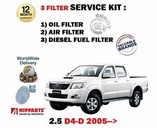 FOR TOYOTA HILUX 2.5TD DIESEL D4D 2005-   OIL AIR FUEL 3 FILTER SERVICE KIT
