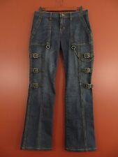 PNS0406- EXPRESS Woman 88% Cotton Denim Jean Pants w/ Buckle Decor Dark Blue 6