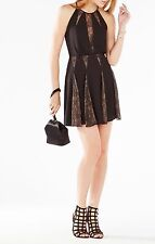 NWT BCBG Max Azria Teena Lace Insert Fit and Flare Little Black Dress $298 6 M