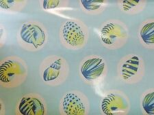 Tula Pink Shells on Light Blue Aqua Laminated Cotton BT yard 56 inches wide