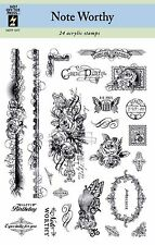 Note Worthy Clear Unmounted Rubber Stamp Set 24 Stamps HOTP 1077 Postage New