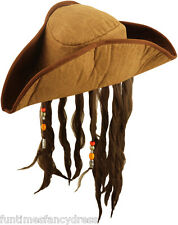 Carribean Pirate Captain Jack Tricorn Brown Hat Hair & Beads Fancy Dress