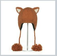 sly red FOX HAT knit ADULT SIZE flc LINED womens mens toque ski cap animal delux
