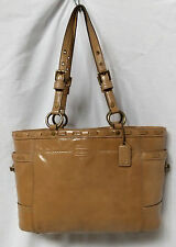 COACH 11500 GALLERY LACED TURNLOCK SOHO FAWN PATENT LEATHER SHOPPER TOTE BAG