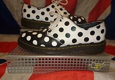 Rare*Meris 3 Eyelet Black White Polkadot Dr Doc Martens Shoes*Goth*Punk*Quirky*6