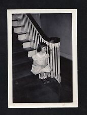 Antique Photograph Adorable Little Girl Sitting On Bottom Step of Staircase
