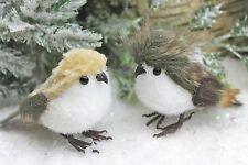 GISELA GRAHAM CHRISTMAS WHITE BROWN PLUSH FLOCK BIRD DECORATION X 2