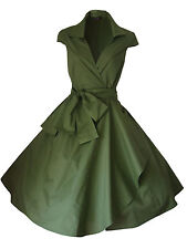 VINTAGE 1950'S 1940's ROCKABILLY STYLE SWING WRAP EVENING PARTY TEA DRESS  6 -26