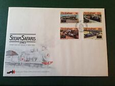 ZIMBABWE 1985 STREAM SAFARIS TRAIN LOCOMOTIVES MNH STAMP SET & SAME FDC