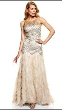 SUE WONG  Feather Gatsby Champagne & Silver Illusion Sequin Wedding Ball Gown 2