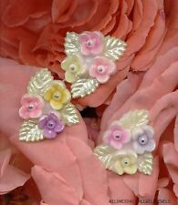 VINTAGE Plastic FLOWER Cabochon Pastel HAND PAINTED Japan Floral Bouquet lot
