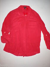 Womens New 8 P Ann Taylor Silk Blouse Top Beautiful Button Work Red 8P Petite