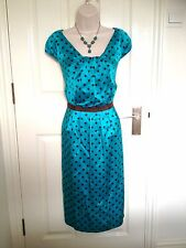 LK Bennett Designer Silk Green Polka Dot Pencil Cocktail Party Dress Size 10