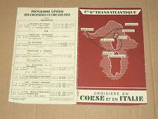 Programme croisière Corse Italie 1937 French Line