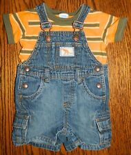GYMBOREE boys Blue Denim DINOSAUR Cargo Short OVERALLS Stripe SHIRT* 3 6 months