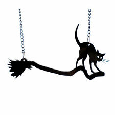 CHERRY LOCO WITCH'S CAT BLACK ENAMEL NECKLACE. CAT ON BROOMSTICK. HALLOWEEN.