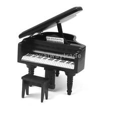 Dollhouse Miniature Wooden Piano with Stool Decoration 1:12 Black