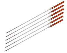 6 Set 23x1/4 inch Stainless Steel Wood Handle BBQ Skewers for kebob Kebab Grill