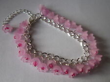 Flower Charm Bracelet - Silver Plated - Cherry Blossom - Pink Lucite Flowers
