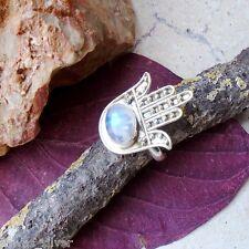 Mondstein,Hamsa, Fatima's Hand, Ring, Ø 18,25 mm, 925 Sterling Silber