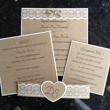 Rustic Vintage Wedding Invitation, RSVP & Insert. Heart & Initials Band SAMPLE