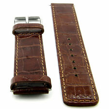 20MM CROCODILE STYLE BROWN GENUINE LEATHER MAN'S WATCH BAND SILVER TONE BUCKLE