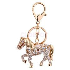 Crystal Diamante Horse Pendant Purse Charms Keychain Handbag Key Ring Chain