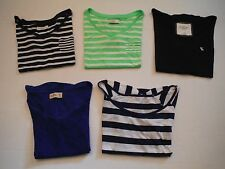 LOT OF 5 GIRLS TOPS ABERCROMBIE KIDS L LARGE HOLLISTER XS BLUE GREEN STRIPED