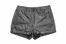 Black 100% Real Leather High Waist Ladies Hot Pants Shorts Size W 34 L2 Festival